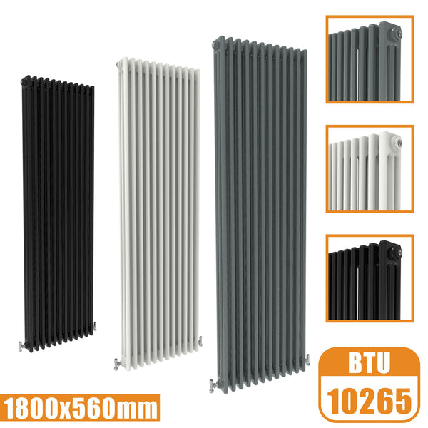 3Column Traditional Cast Iron Style 1800x560 Radiator Vertical Tall Vintage AICA Rads