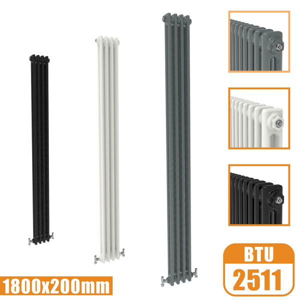 2Column Traditional Cast Iron Style 1800x200 Radiator Vertical Tall Vintage AICA Rads