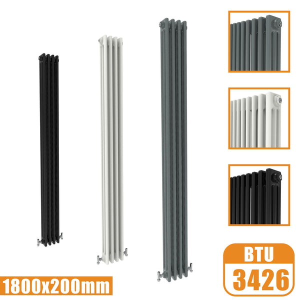 3Column Traditional Cast Iron Style 1800x200 Radiator Vertical Tall Vintage AICA Rads