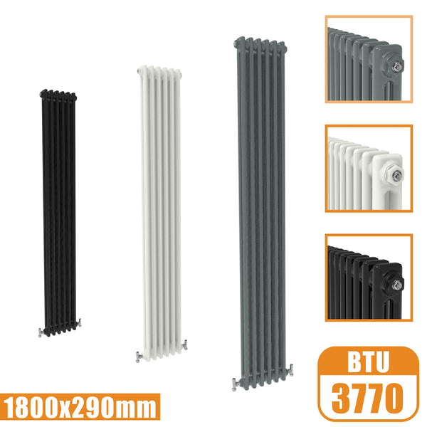 2Column Traditional Cast Iron Style 1800x290 Radiator Vertical Tall Vintage AICA Rads