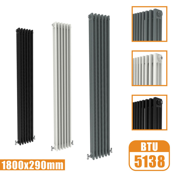 3Column Traditional Cast Iron Style 1800x290 Radiator Vertical Tall Vintage AICA Rads