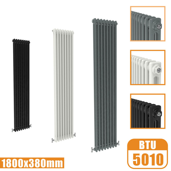 2Column Traditional Cast Iron Style 1800x380 Radiator Vertical Tall Vintage AICA Rads