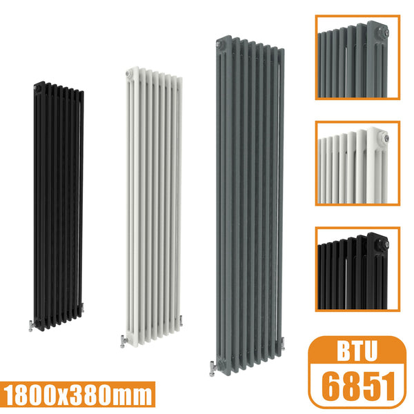 3Column Traditional Cast Iron Style 1800x380 Radiator Vertical Tall Vintage AICA Rads