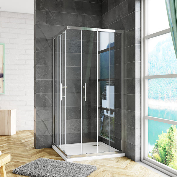700-1200mmx1850 Double Doors,Corner entry sliding shower cubicle,Shower Tray Optional