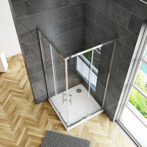 Square Corner Entry Shower Enclosure 700 760 800 900mm Chrome Double Doors, Tray Optional