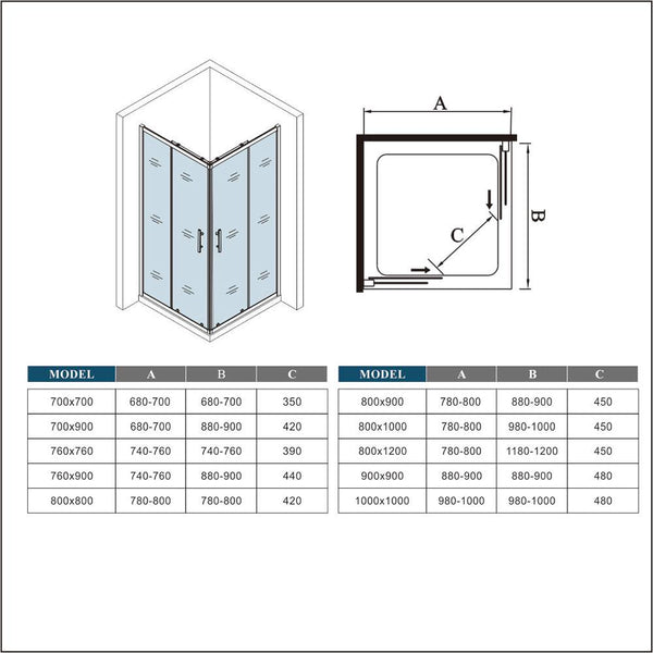 1850mm Height Double Doors,Corner entry sliding shower cubicle,Tray Optional