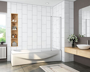 2/4 Panel Folding ,Swings through 180 degrees Shower Bath Screen,1400mm H