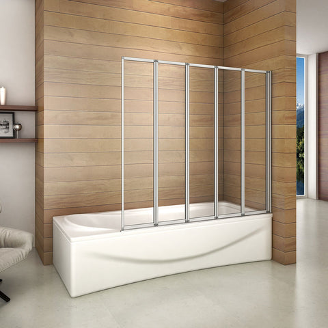 Folding Bath Shower Screen Glass 4/5 Panel Folding ,1400mm height