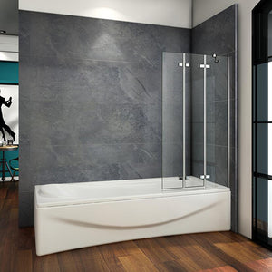 1000x1400mm 3 Fold Folding Bath Shower Screen Luxury Modern Glass