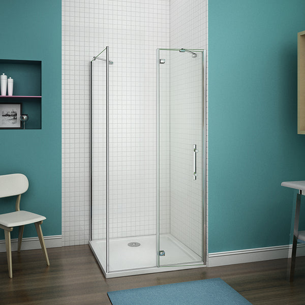 700-1000mmx1850 Chrome Hinge shower door,700-900 side panel,Tray Optional