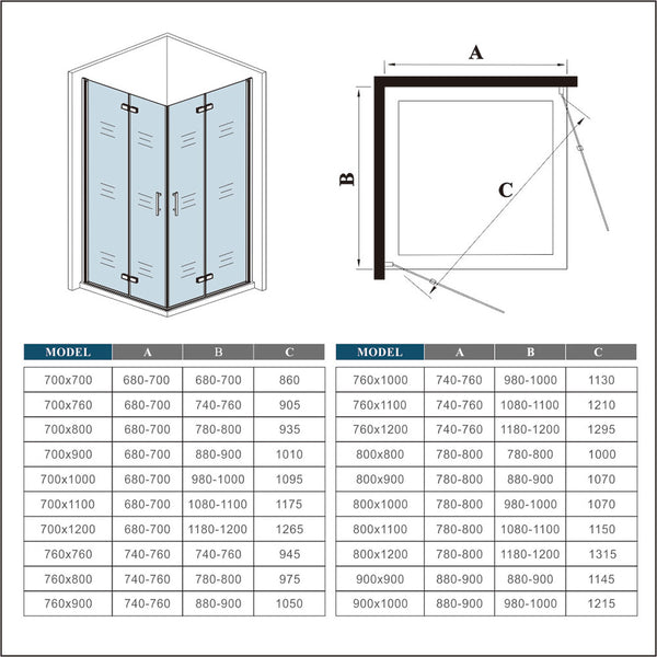 700-1000mm Frameless Pivot Hinge Shower Enclosure chrome double Doors