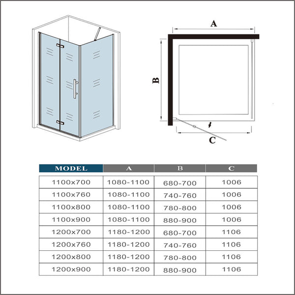 1850mm Height Shower Enclosure Bifold Pivot Door with side panel Tray option