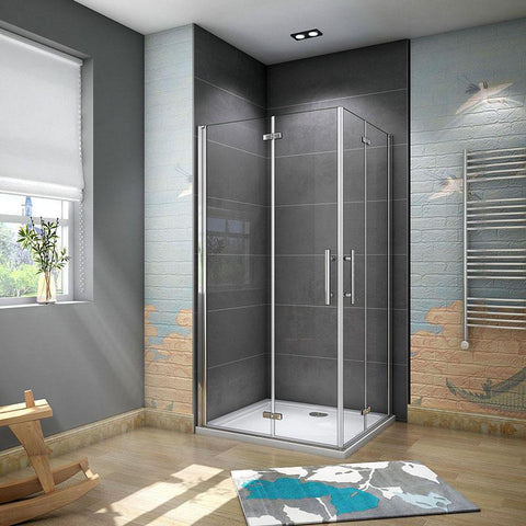 Shower enclosure corner entry bifold pivot door