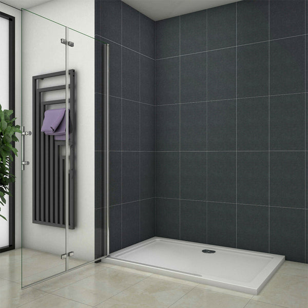 1850mm Height Wet Room Walk In Bi fold Pivot Single door Shower Panel  Bath screen Glass