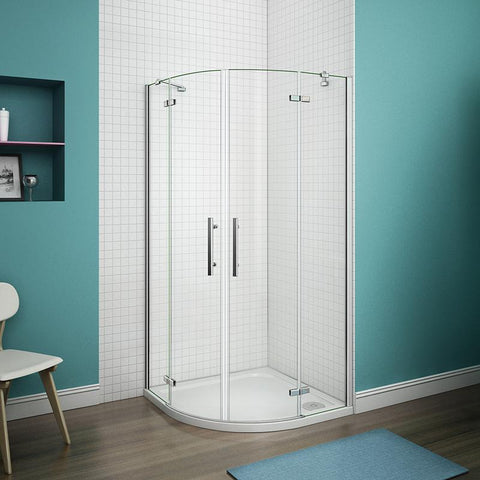 800-900mm x 1850mm Chrome Quadrant Enclosure Corner Cubicle,Shower Tray Optional