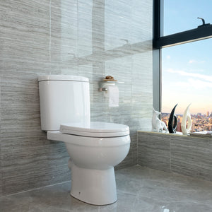 Ceramic Close Coupled Toilet White Soft Close Dual Flush Modern Bathroom HY012