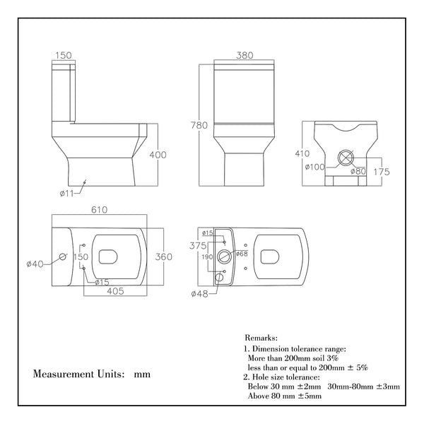 Ceramic Close Coupled Toilet White Soft Close Dual Flush Rectangle Bathroom HY042