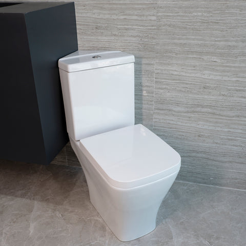 Ceramic Close Coupled Toilet Corner White Soft Close Dual Flush Modern Bathroom HY053