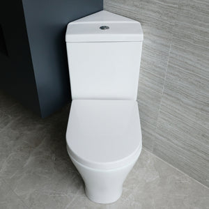 Close Coupled Corner Ceramic Toilet White Soft Close Dual Flush Modern Bathroom HY063