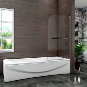 Chrome Swings through 180 degrees Pivot bath shower screen,Towel rail,1400mm H