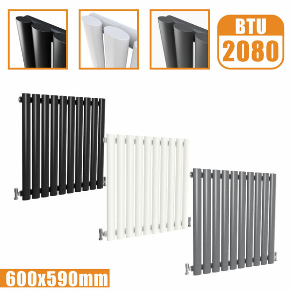Horizontal Oval Column single Designer radiator 600x590 White Anthracite Grey AICA