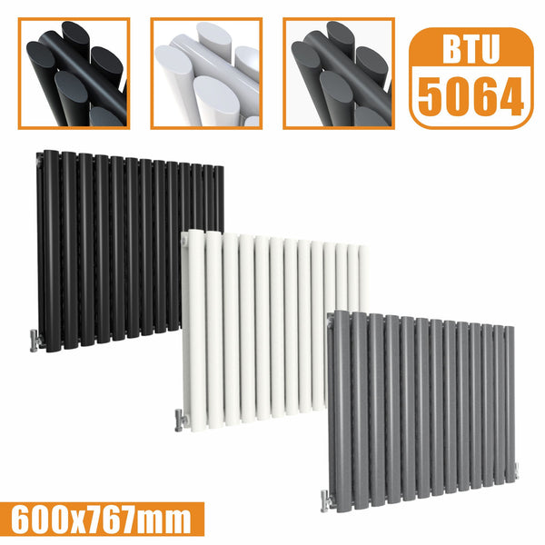Horizontal Oval Column Double Designer radiator 600x767 White Anthracite Grey AICA