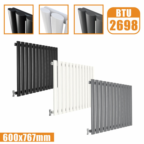 Horizontal Oval Column single Designer radiator 600x767 White Anthracite Grey AICA