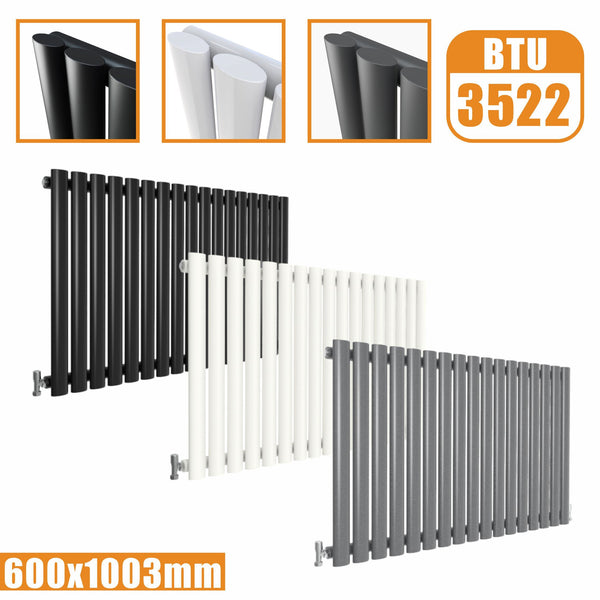 Horizontal Oval Column single Designer radiator 600x1003 White Anthracite Grey AICA