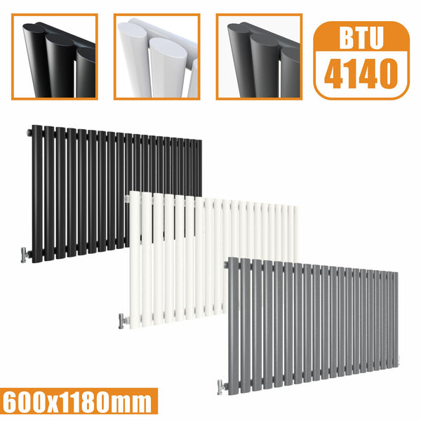 Horizontal Oval Column single Designer radiator 600x1180 White Anthracite Grey AICA