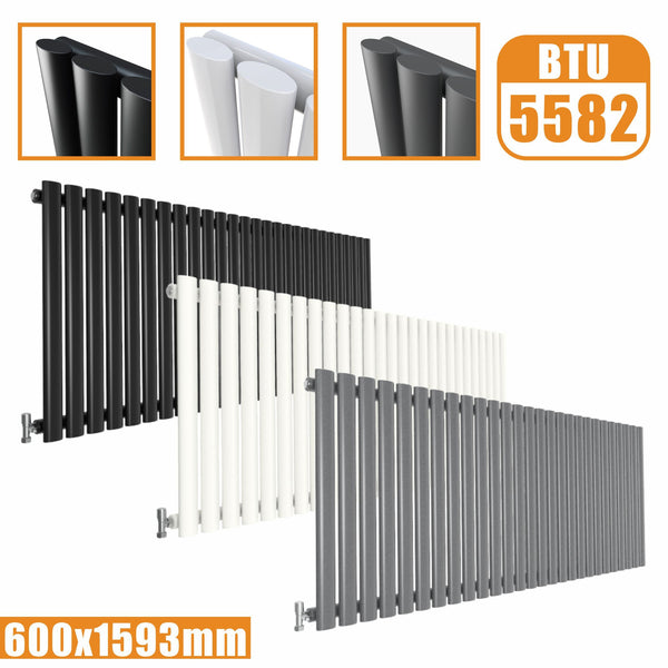Horizontal Oval Column single Designer radiator 600x1593 White Anthracite Grey AICA