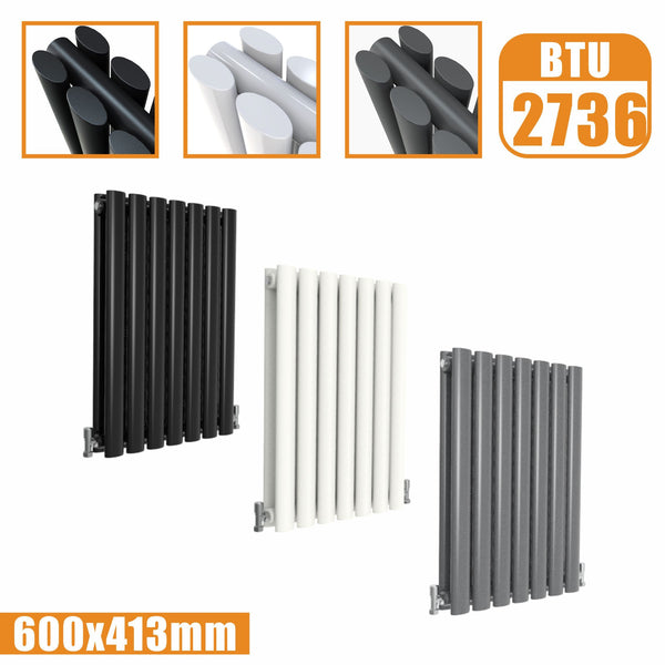 Horizontal Oval Column Double Designer radiator 600x413 White Anthracite Grey AICA