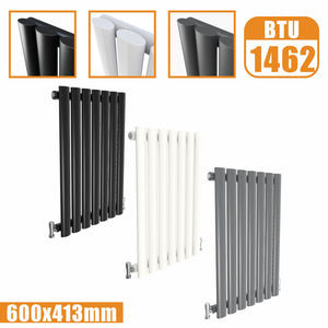 Horizontal Oval Column single Designer radiator 600x413 White Anthracite Grey AICA