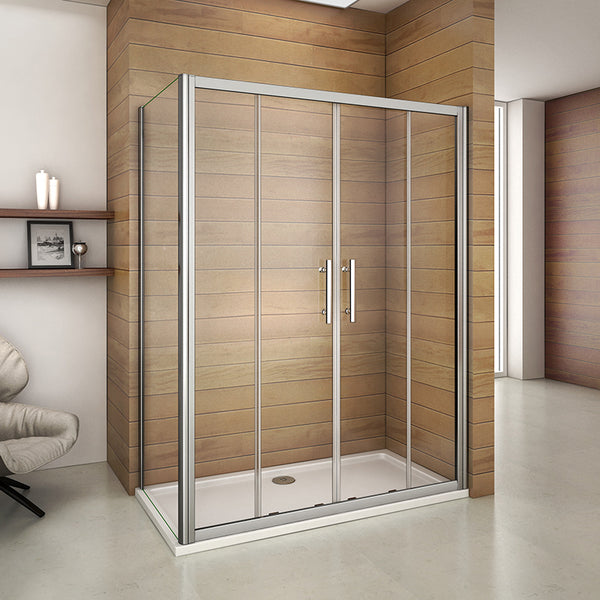 Luxury 1400-1700mm Chrome Double Door Sliding Shower Enclosure,Tray Optional