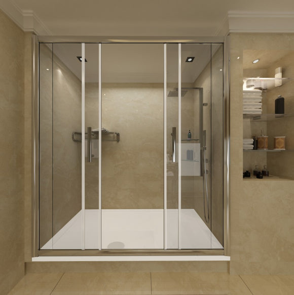 Luxury 1400mm-1700mm Chrome Sliding Double Shower Door,Tray Optional