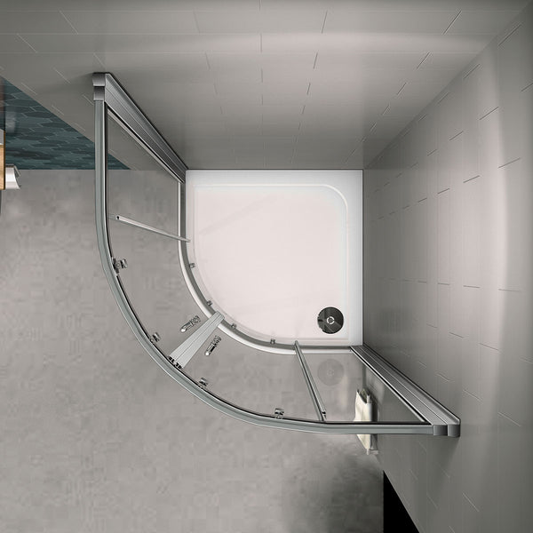 Walk In Quadrant Shower Enclosure Cubicle Glass Sliding Door 800|900|1000mm