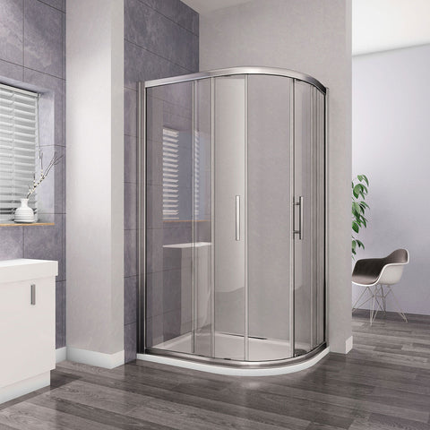Bathroom 8mm NANO Glass Chrome Offset Sliding Quadrant Shower Enclosures