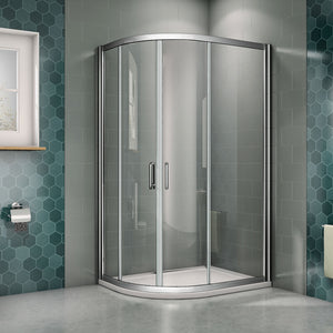 Offset Quadrant Shower Enclosures chrome 6mm NANO Glass