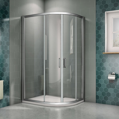 Chrome Offset Quadrant Shower Enclosures 6mm NANO Glass Sliding door