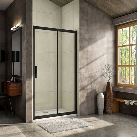 1950mm Height Black Frame Shower sliding door single door 8mm Easy Clean Glass