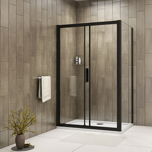 Black Frame Shower Enclosure Sliding Door 1950mm Height Single Door Side Panel 8mm Easy Clean Glass NANO