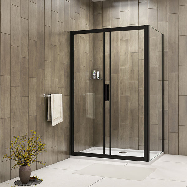 Black frame Sliding Shower Door Tempered Clear Glass 1950mm Height