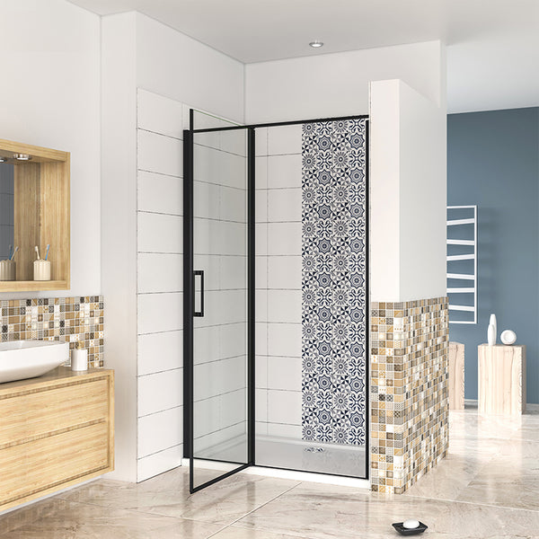 Black Pivot Shower Door, 6mm safety Tempered Easy Clean Glass Nano Shower Enclosure