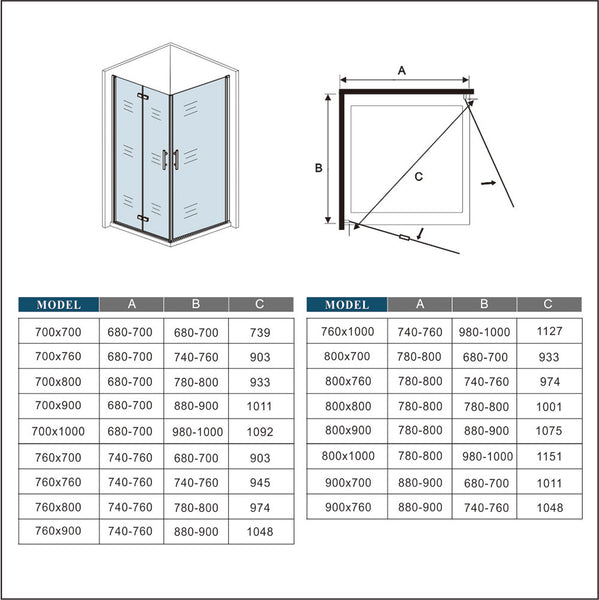 700-1000mm Frameless Pivot Hinge corner entry shower Enclosures chrome double Doors