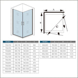 700-1000mmx1850 Frameless double doors Corner Entry Enclosures,Tray Optional