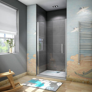700mm | 760mm |  800mm | 900mm Chrome Frameless Pivot Shower Door, Tray Optional