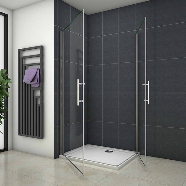 Double 2 Pivot door Shower enclosure Frameless Corner Entry 1850mm Height