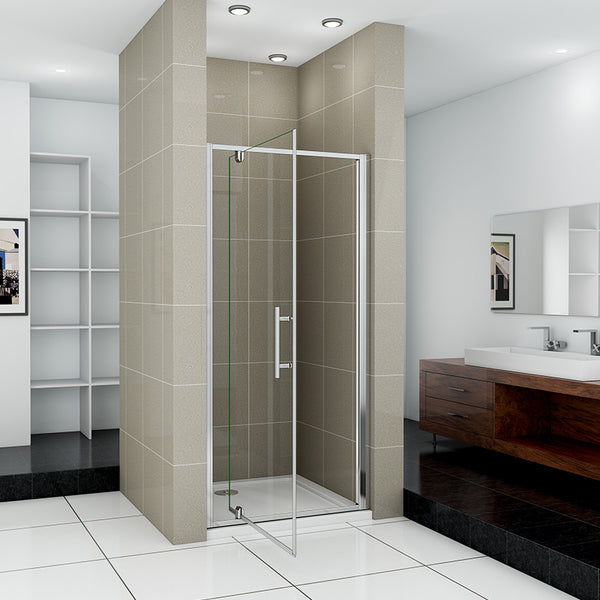 Pivot Shower Door 700-1000x1850mm Single Door Shower Bath Enclosure Chrome Frame