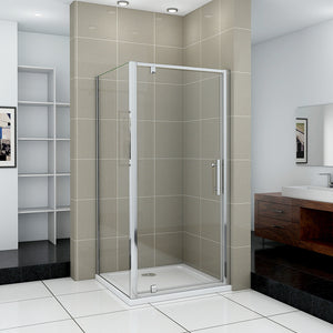 Pivot Shower Enclosure Door+Side Panel Shower tray Optional 700-1000mmx1850 Chrome