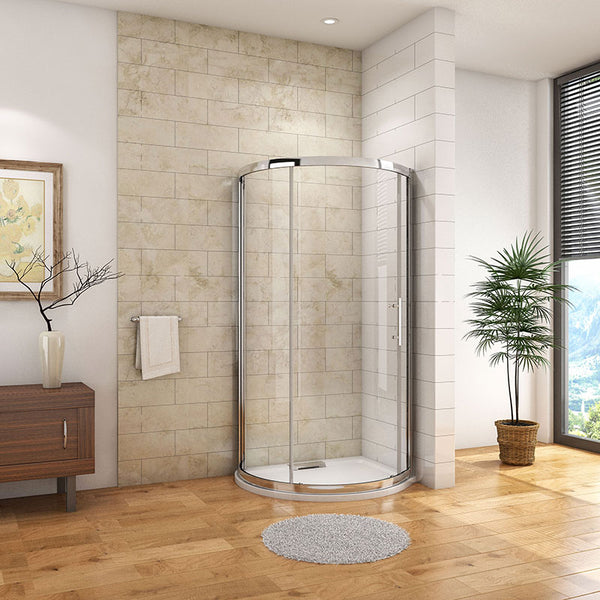 1850mm H Walk In Quadrant Shower Enclosure 6mm EasyClean Glass + shower tray