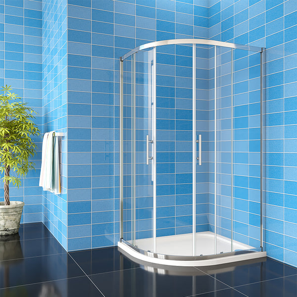Quadrant Shower Enclosure 6mm NANO Easy Clean tempered clear glass Cubicle 1850mm Height Chrome Offset/Equal